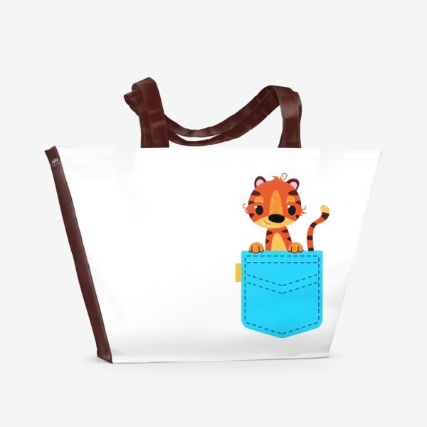 Пляжная сумка «Нрлубой карман с тигром»