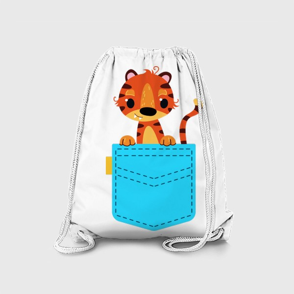 Рюкзак «Нрлубой карман с тигром»