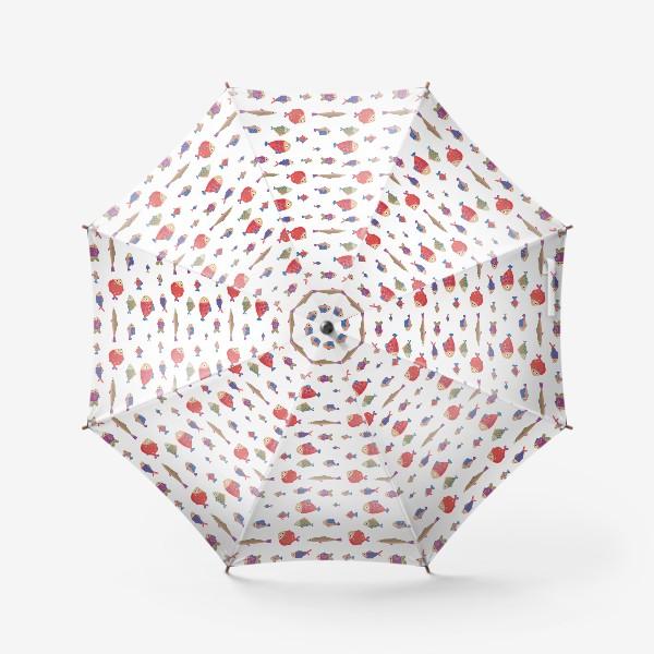 Зонт «Бесшовный паттерн. Камбала и другие рыбы»