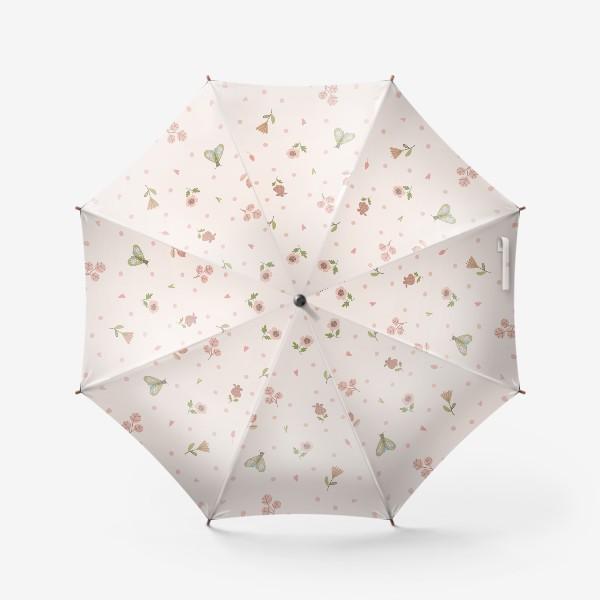 Зонт «Бесшовный паттерн. мотылек и цветы»