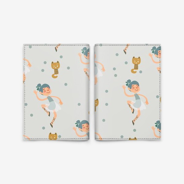 Обложка для паспорта «Бесшовный паттерн. Балерины и котята»
