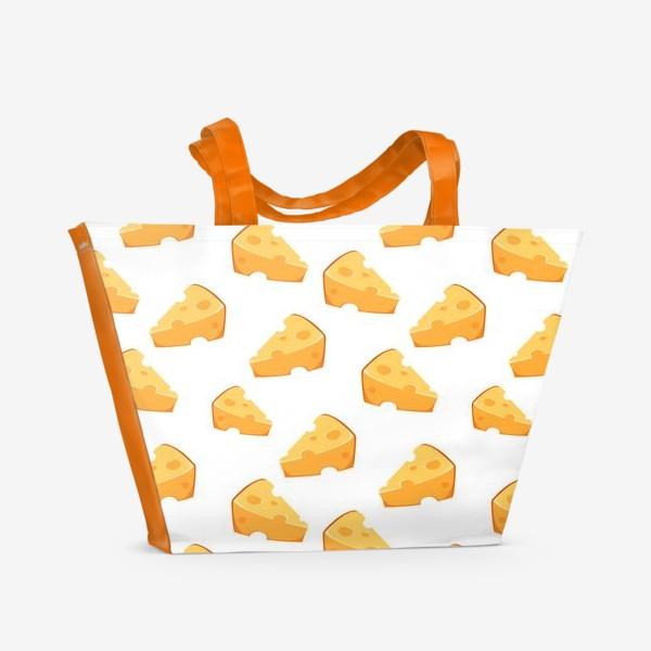 Пляжная сумка «Сырный паттерн с сыром)»