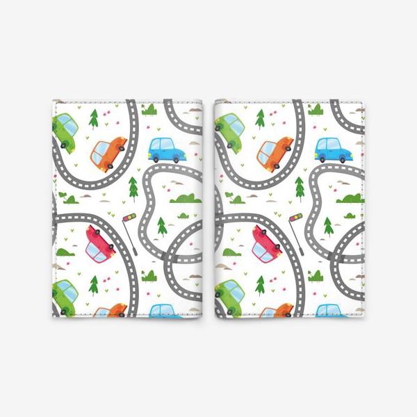 Обложка для паспорта «Бесшовный паттерн. Милые машинки едут по дороге»