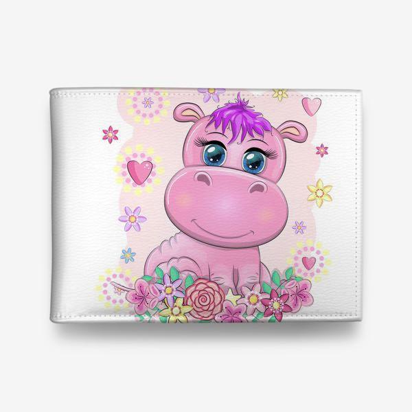 Кошелек «Розовый бегемотик-девочка в цветах. Детское, в ожидании малыша»