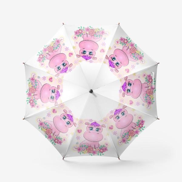 Зонт «Розовый бегемотик-девочка в цветах. Детское, в ожидании малыша»