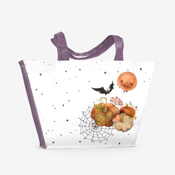 Пляжная сумка «Хэллоуин, тыква»