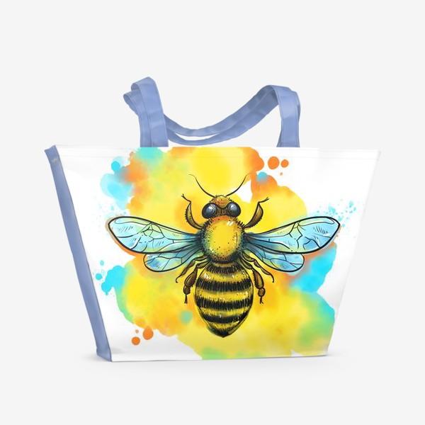 Пляжная сумка «пчела. акварельная пчелка»