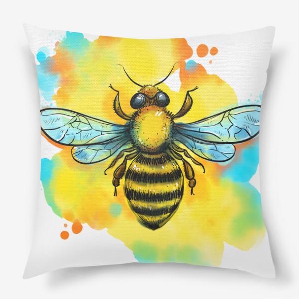 Подушка «пчела. акварельная пчелка»