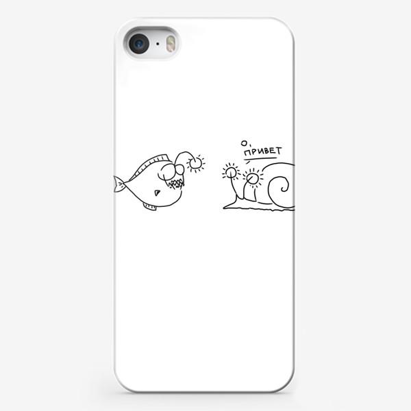 Чехол iPhone «Улитка и удильщик. О, привет!»