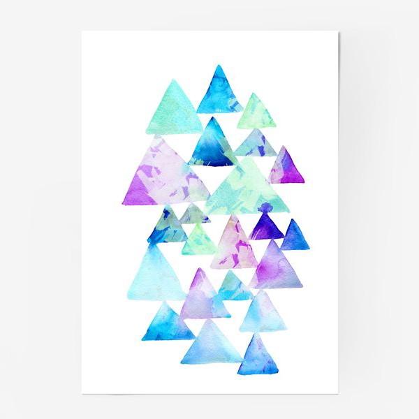 Постер «Акварельные треугольники»
