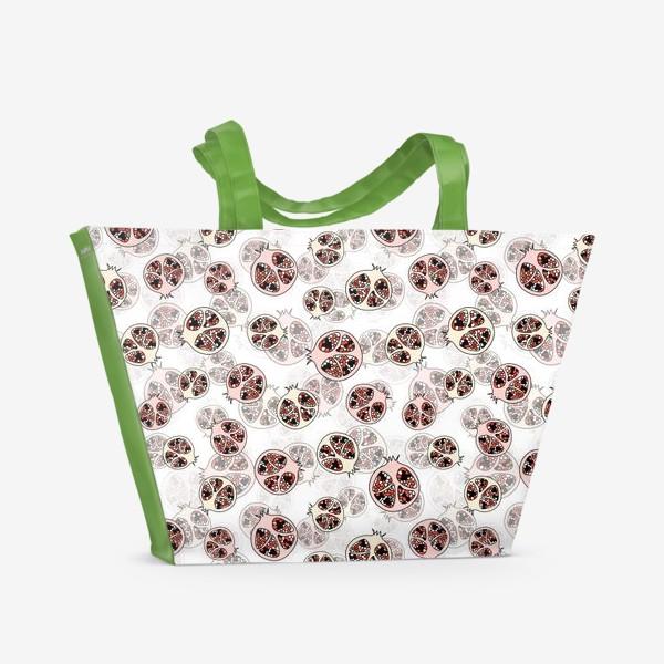 Пляжная сумка «Фрукты гранаты половинки»