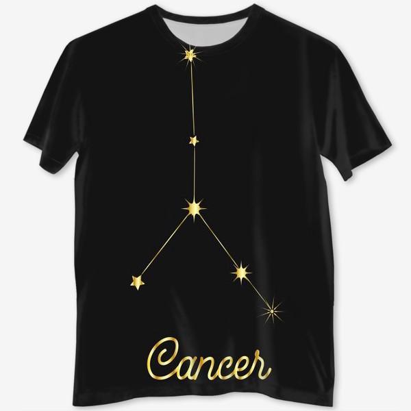 Футболка с полной запечаткой «Созвездие Рак, золотые звезды на темном небе»