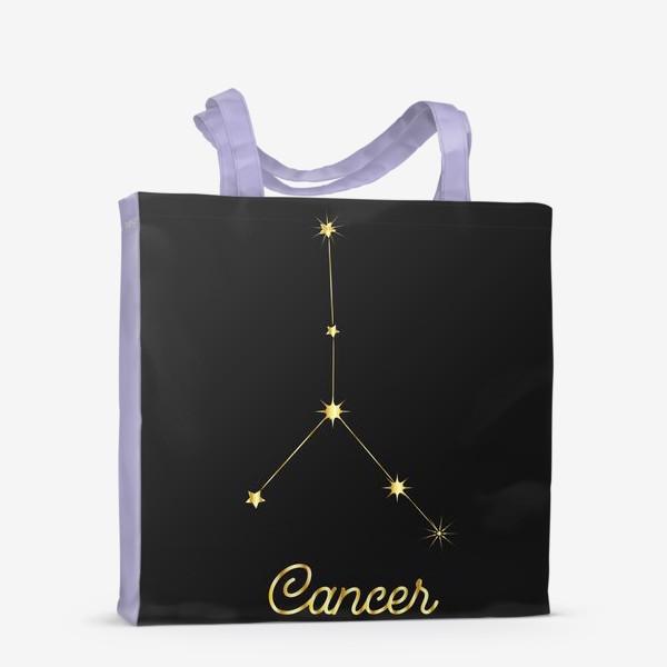 Сумка-шоппер «Созвездие Рак, золотые звезды на темном небе»