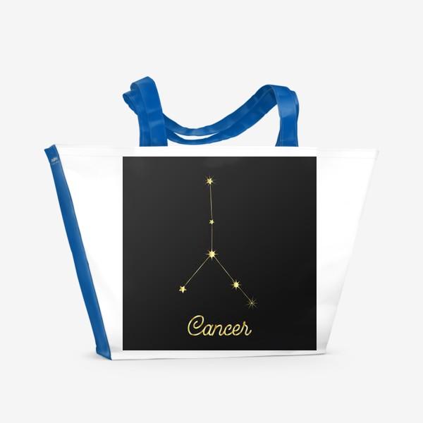 Пляжная сумка «Созвездие Рак, золотые звезды на темном небе»