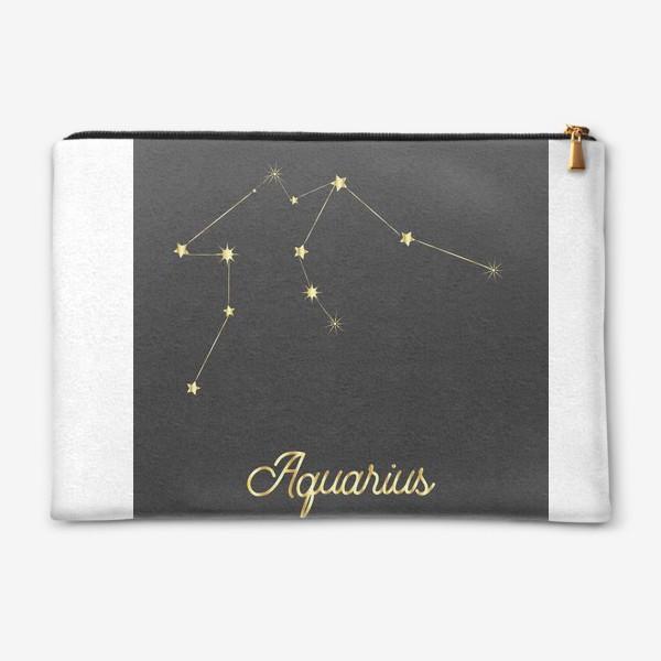 Косметичка «Созвездие Водолей, золотые звезды на темном небе»