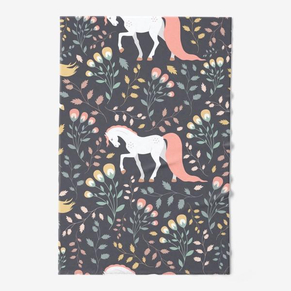 Полотенце «Паттерн, красивые лошади на фоне цветов и растений»