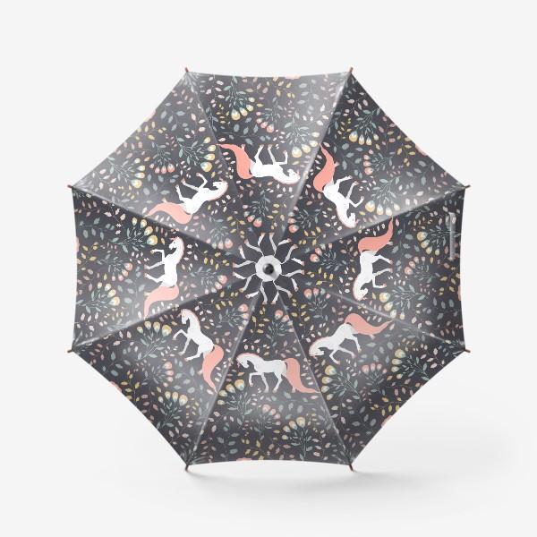 Зонт «Паттерн, красивые лошади на фоне цветов и растений»