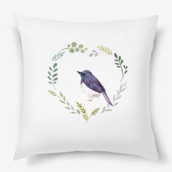 Подушка «Птичка в сердце»