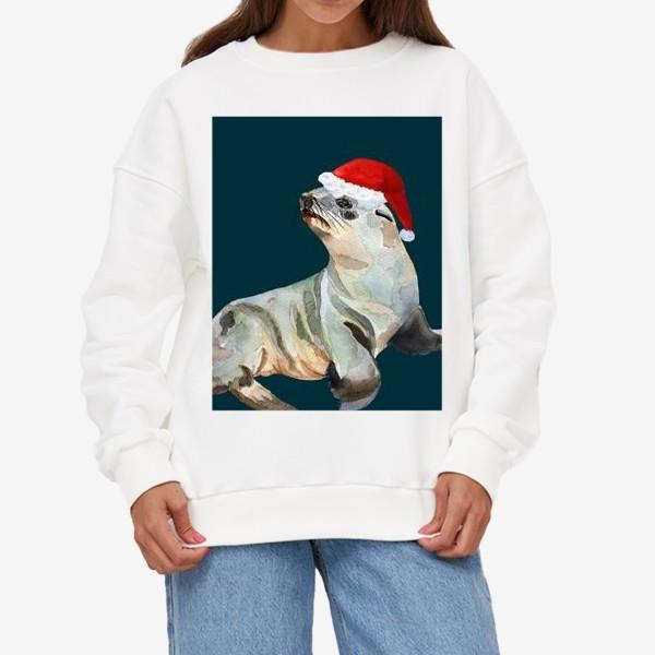 Свитшот «Новогодний морской котик»