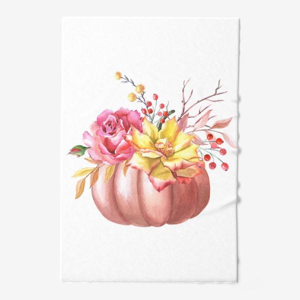 Полотенце «Осенняя композиция с тыквой и розами»