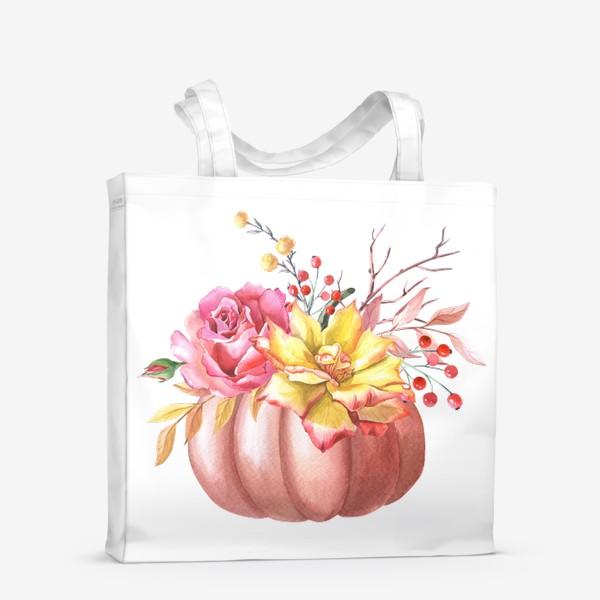 Сумка-шоппер «Осенняя композиция с тыквой и розами»