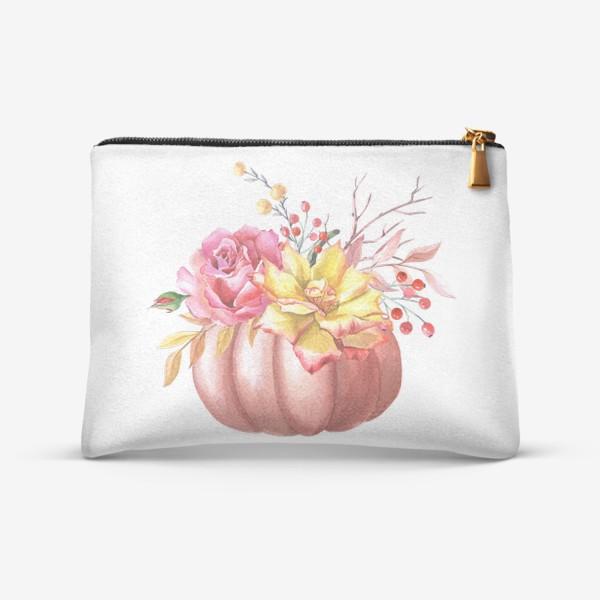 Косметичка «Осенняя композиция с тыквой и розами»