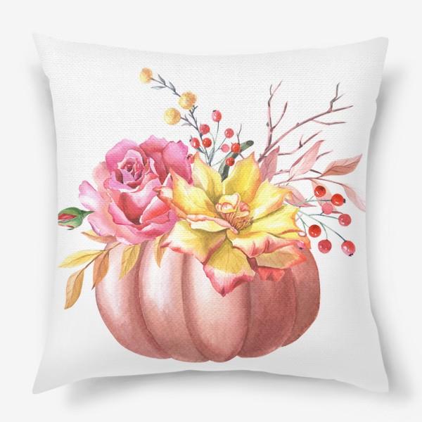 Подушка «Осенняя композиция с тыквой и розами»