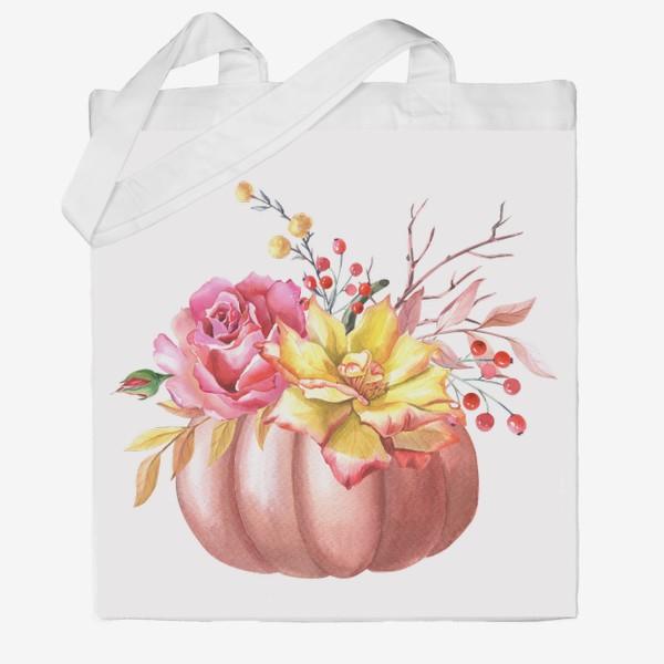 Сумка хб «Осенняя композиция с тыквой и розами»