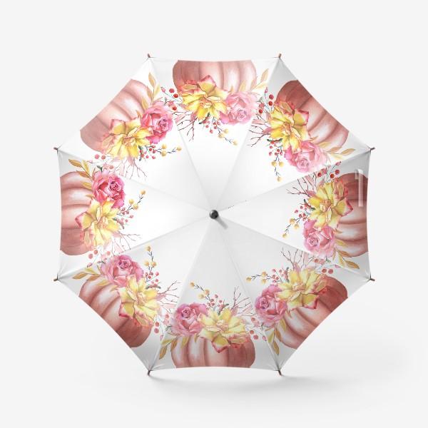 Зонт «Осенняя композиция с тыквой и розами»