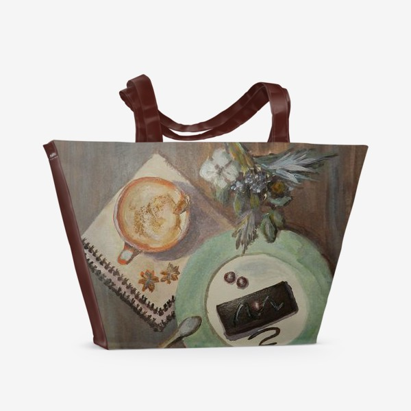 Пляжная сумка «Зимний натюрморт с капучино»