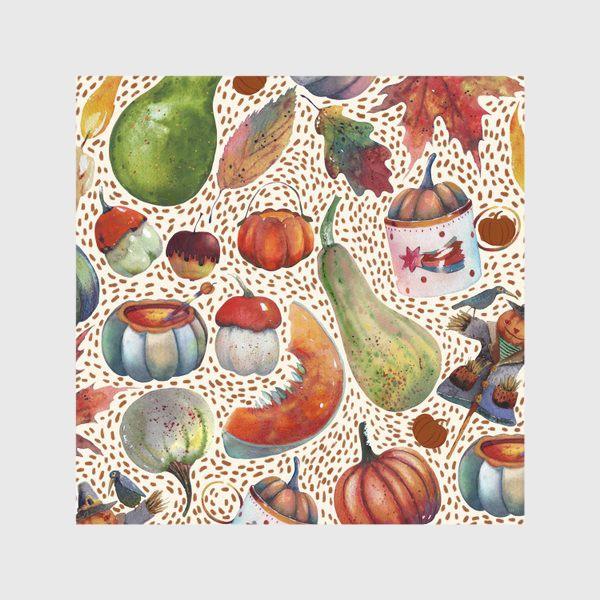 Скатерть «Осенний паттерн. Акварель. Тыквы, листья, свечи, яблоки»