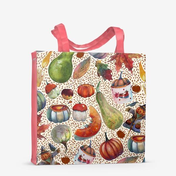 Сумка-шоппер «Осенний паттерн. Акварель. Тыквы, листья, свечи, яблоки»