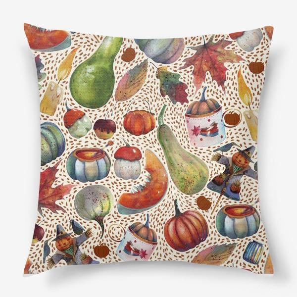 Подушка «Осенний паттерн. Акварель. Тыквы, листья, свечи, яблоки»