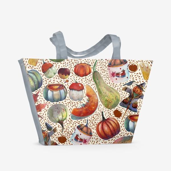 Пляжная сумка «Осенний паттерн. Акварель. Тыквы, листья, свечи, яблоки»