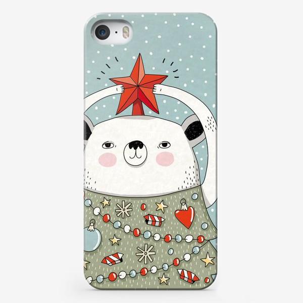 Чехол iPhone «Мишка праздничная ёлка»