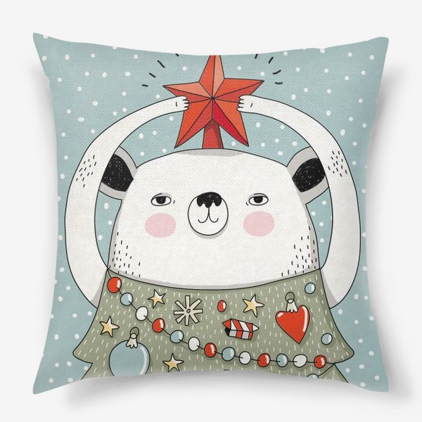 Подушка «Мишка праздничная ёлка»