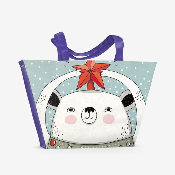Пляжная сумка «Мишка праздничная ёлка»