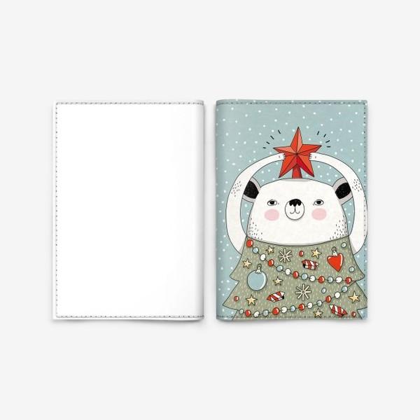 Обложка для паспорта «Мишка праздничная ёлка»