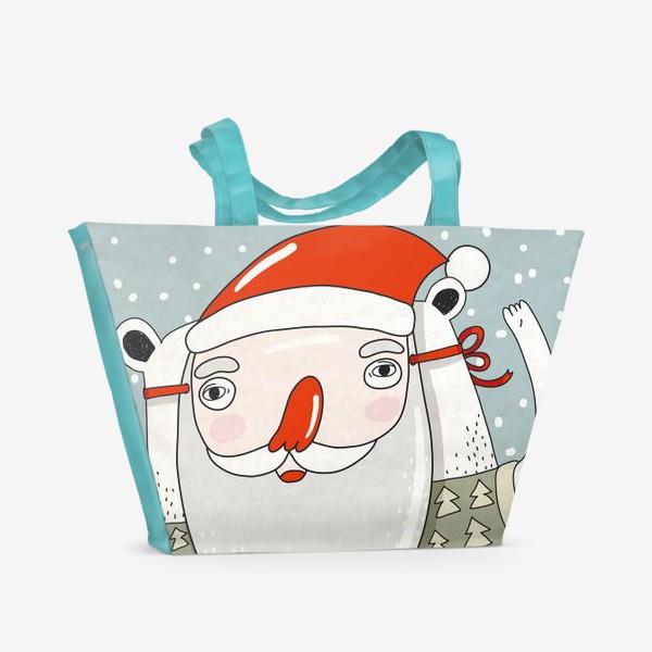 Пляжная сумка «Медведь в маске деда Мороза»