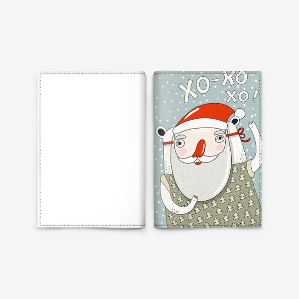 Обложка для паспорта «Медведь в маске деда Мороза»