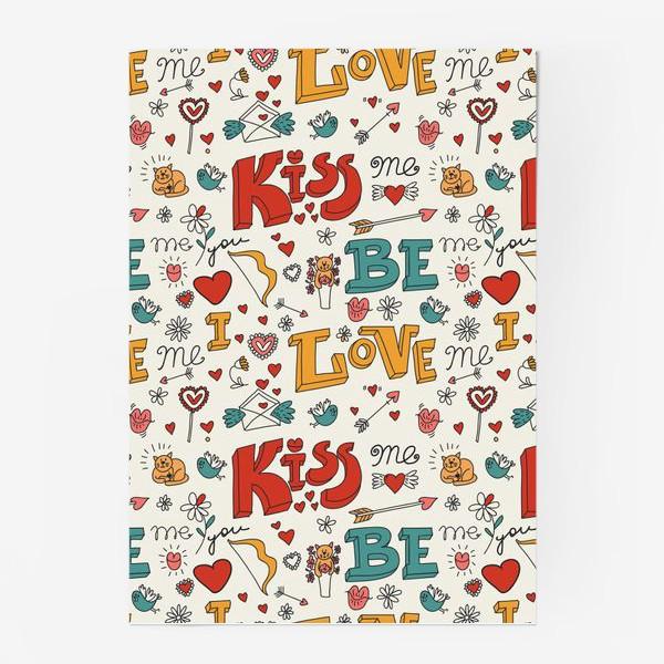 Постер «Паттерн день святого валентина поцелуй, любовь»