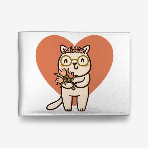 Кошелек «Милая кошка в очках с букетом цветов»