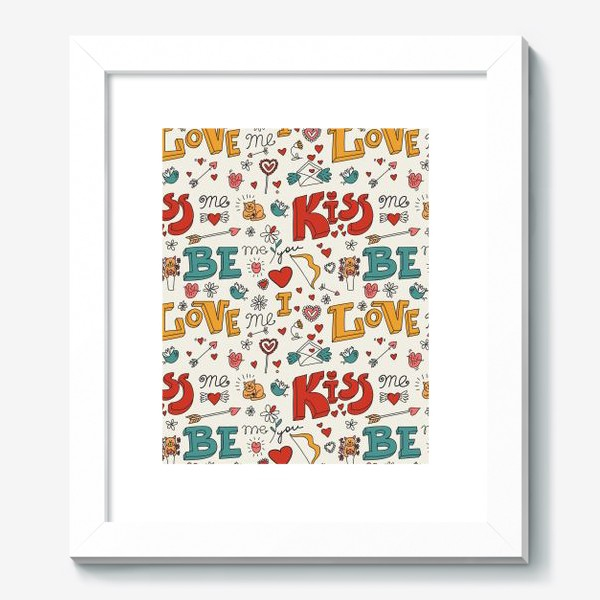 Картина «Паттерн день святого валентина поцелуй, любовь»