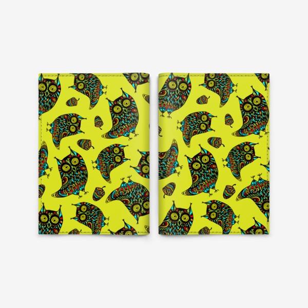 Обложка для паспорта «Bright Psychodelic Owls»