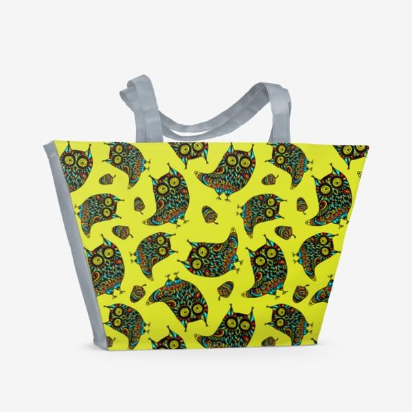 Пляжная сумка «Bright Psychodelic Owls»