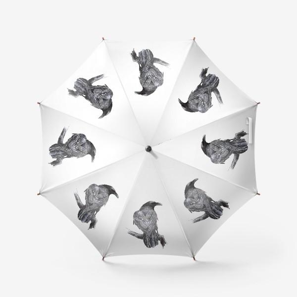 Зонт «Черный ворон сидит на ветке»
