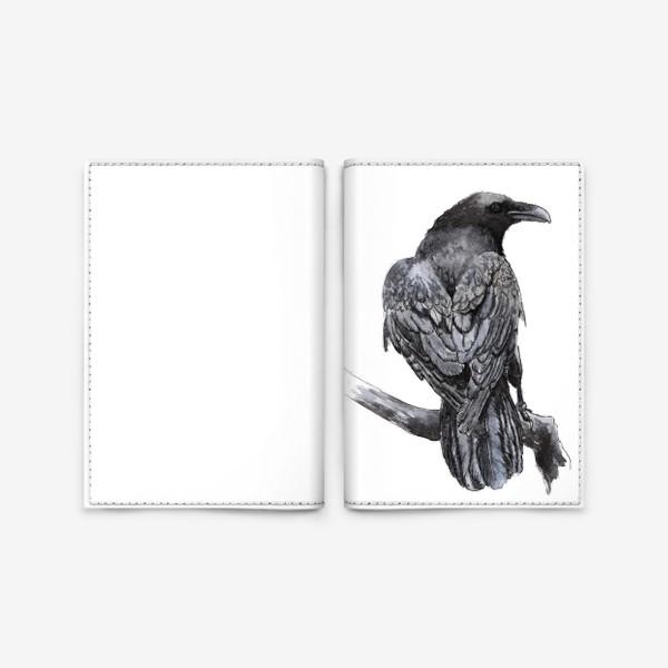 Обложка для паспорта «Черный ворон сидит на ветке»