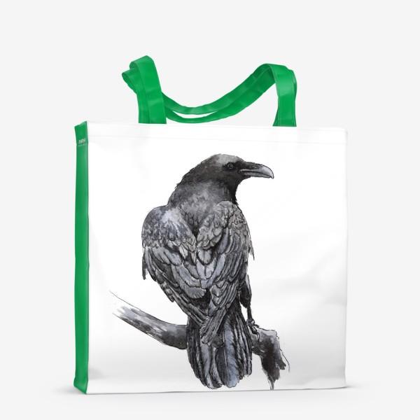 Сумка-шоппер «Черный ворон сидит на ветке»