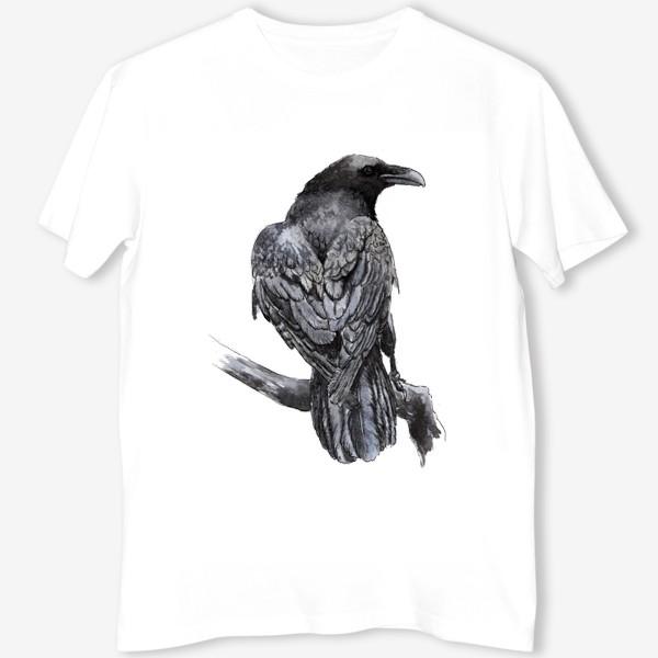 Футболка «Черный ворон сидит на ветке»