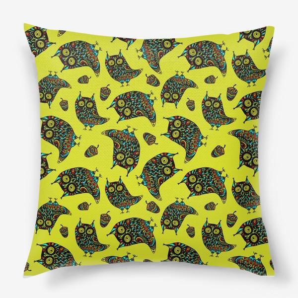 Подушка «Bright Psychodelic Owls»
